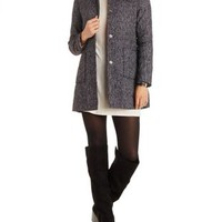 Black/White Marled Wool-Blend Collarless Coat by Charlotte Russe