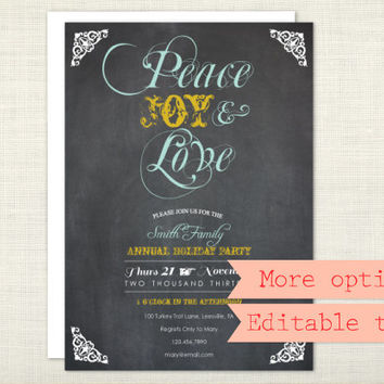 PREMIUM - Chalkboard Holiday Party Invitation, Peace Joy and Love, Christmas Party, Vintage Typography - digital file, printable
