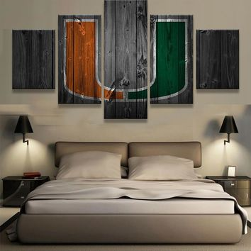 Miami Hurricanes College Football Barn Wood Style Canvas (not actual barnwood)