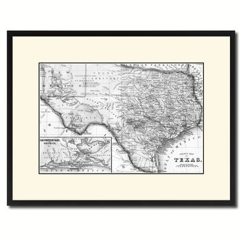 Texas Vintage B&W Map Canvas Print, Picture Frame Home Decor Wall Art Gift Ideas