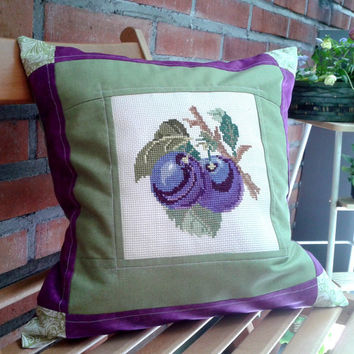Quilted pillow cover Cross stitch Embroidered sham pillowcase Hand crafted Plum 16 inches