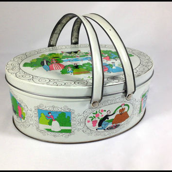 Large Decorative Tin Vintage Sewing Tin Colorful Artistic design of Edwardian Romance & Daily Life Lunch Box Tin Metal Picnic Basket