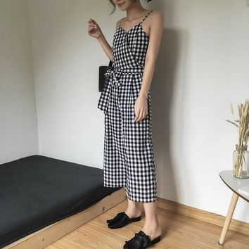 [GUTU] 2017 New Pattern Personality Conciseness V-neck Lattice Camisole Plaid Jumpsuits Casual Woman L13601