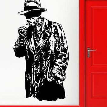 Wall Stickers Vinyl Decal Retro Gangster Gunman Killer Smoking Cigar  Unique Gift (z2295)