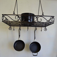 Wire Pot and Pan Rack, Bronze Storage Hooks Organizer Cookware Black