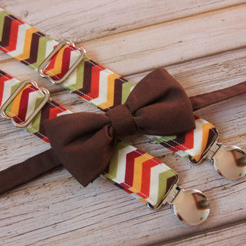 Dark Brown Bow Tie and Cream, Green, Red, Orange, Brown Chevron Suspenders set ( Men, boys, baby, toddler, infant Suspender and Bowtie )