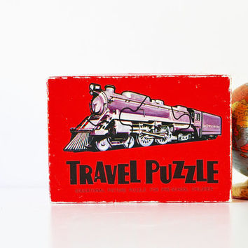 Travel From Here to There - Vintage Travel Puzzles - Made in Japan - Retro - Red - Vacation - Kids - Game