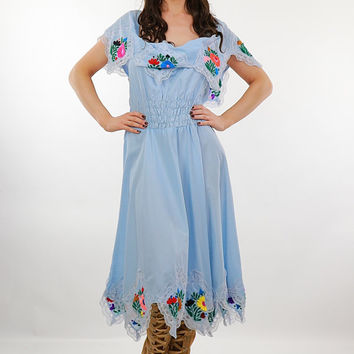 Mexican Embroidered Dress Pastel Blue Floral abstract handkerchief boho peasant sundress Medium