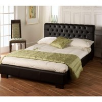 Limelight | Aries Black Faux Leather Bed Frame | bedsdirectuk.net