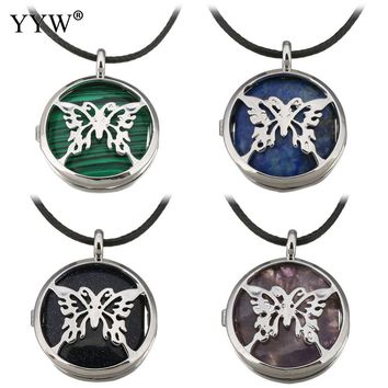 YYW Women Love Rock Unisex Rope Cord Choker Necklace Hollow Butterfly Leaf Tree Locket Lapis Lazuli Opal Stone Pendant Necklaces