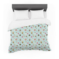 "Stephanie Vaeth ""Doughnut Cat"" Teal Pink Illustration Featherweight Duvet Cover"