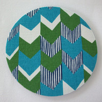 Mouse Pad mouse pad / Mat - Blue Green chevron round or rectangle office accessories desk