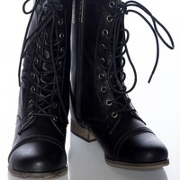 Pretty and Polished Burnished Lace Up Combat Boots - Black from Boots at Lucky 21