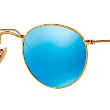 RAY BAN RB 3447 N GOLD WITH BLUE FLASH MIRROR LENS