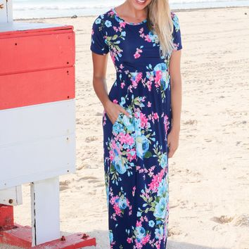Navy Floral Maxi Dress with Short Sleeves and Criss Cross Back
