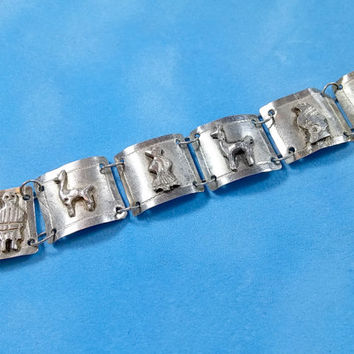 Vintage Sterling Silver Mexico Folk Art Panel Bracelet Rare Collectible Child Size or Small Wrist Featuring Llamas Ethnic Culture People Sun
