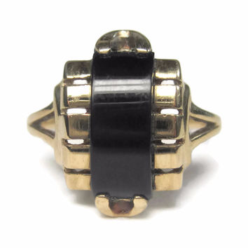 Art Deco 10K Onyx Dome Ring Size 4.25