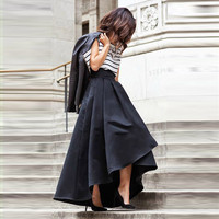 Chic High Low Women Skirt Pleat High Zipper Waist A-line Floor Length Long Maxi Satin Skirts 100% Real Pictures