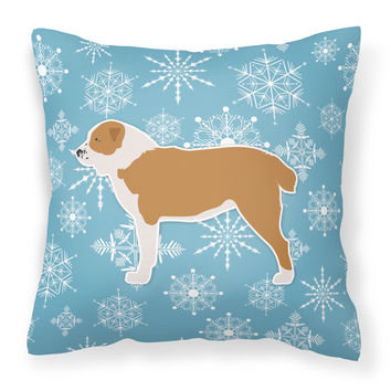 Winter Snowflake Central Asian Shepherd Dog Fabric Decorative Pillow BB3528PW1818