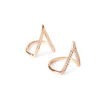 Triangle Rhinestone Ring Set