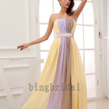 Three color combination Sheath/ Column Strapless by bingbridal