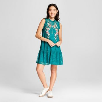 Women's Sleeveless Embroidered Lace Dress - Xhilaration™ Jade