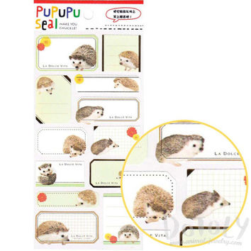 Hedgehog Porcupine Glossy Photo Label Index Sticker Seals | Cute Animal Inspired Scrapbook Decorating Supplies