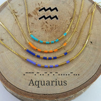 AQUARIUS Morse Code necklace, CUSTOM morse code, Secret Message, Dainty necklace, Personalized, Morse code jewelry, Birth necklace, BFF Gift