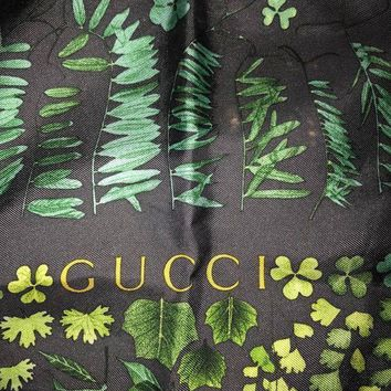 Gucci Silk Scarf Vintage Patterned Large Square