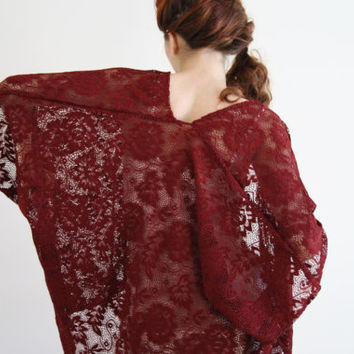 Lace kimono jacket Sheer marsala boho Kimono robe Kimono cardigan duster jacket red festival Kaftan Beach cover up Bridal lingerie IVY