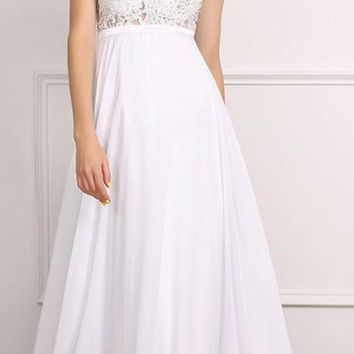 White Scoop Neck Chiffon Appliques A Line Long Prom Dresses Beading Sleeveless Floor Length Prom Dress