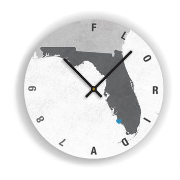 "PERSONALIZED FLORIDA STATE Map Art Wall Clock-Large Unique Contemporary Wall clock-11"" and 16""  Diameter - No Ticking Sound"