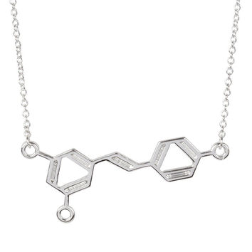 Silver Wine Molecule Necklace