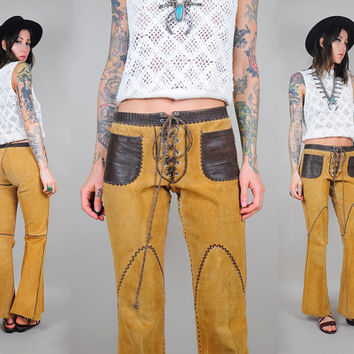 vtg 60's NORTH BEACH leather SUEDE Bell Bottom 70's Flared pants corset lace up front Boho hippie Whipstitch