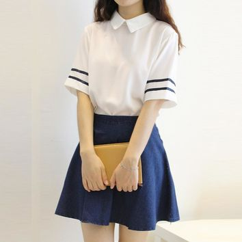 Japanese / Korean Anime Cosplay Costume School Sailor Uniform Suit JK Student Top +Dress whole set