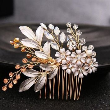 CREYCI7 Luxurious Gold Hair Comb Hair Sticks Crystal Flower Hair Jewelry Festival Gifts Bride Hair Pins Wedding Accessory SL