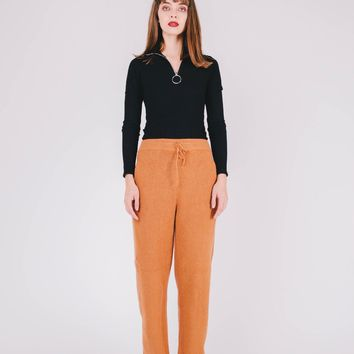 Knitted Sweater Straight Pant | Camel