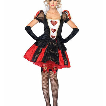 MOONIGHT 3 Pcs Halloween Costumes Adult Womens Poker Red Queen of Hearts Costume Dress Carnival Party Queen Costumes for Women