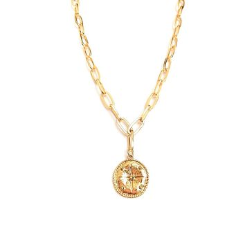 Compass Coin Pendant Link Necklace