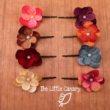 Hydrangea Flower Bobby Pin--Hair Pin--Pick Your Color