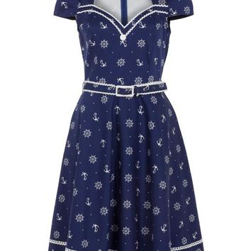 Nautical Dream Rockabilly Sailor Anchor & Boatwheel Navy Blue Flare Party Dress