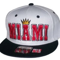 King of Miami White/Black Snapback Hat Cap Heat Colorway