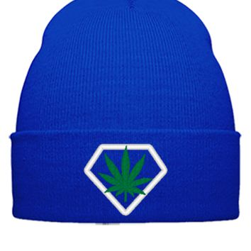 weed embroidery hat - Beanie Cuffed Knit Cap