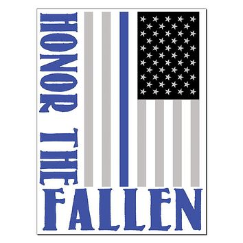 Honor The Fallen Thin Blue Line Rectangular Decal Sticker