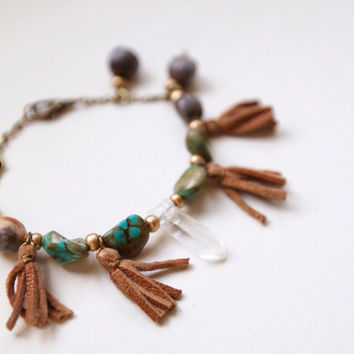 BCB-01, Free U.S. Shipping, brass crystal bracelet with turquoise, seed beads and tassels ,boho,hippie