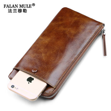 FALAN MULE Genuine Leather Wallet Men Clutch Bags Casual Thin Wallet Male Clutch Fashion Slim Men Wallets Money Man Purse Wallet