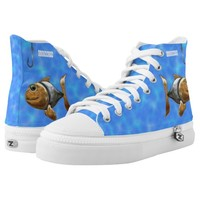 Golden Silver Sparkling Fish With Fishing Hook Printed Shoes