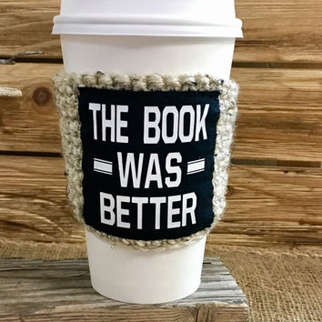 bookworm gift, book gift, cup cozy, coffee gift, stocking stuffer, funny gift, coffee sleeve, gift for her