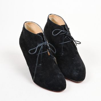 PEAP3D5 Christian Louboutin BlackChristian Louboutin Suede Leather Lace Up Wedge Ankle Booties