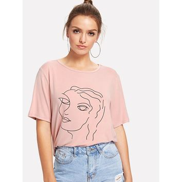 Abstract Portrait Print Tee PINK